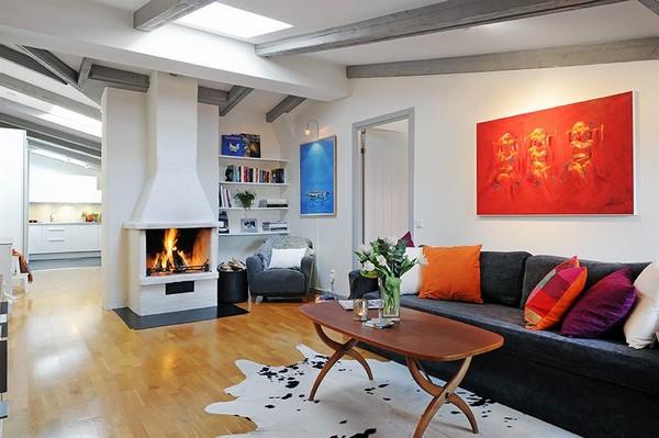 Scandinavian apartment with fireplace