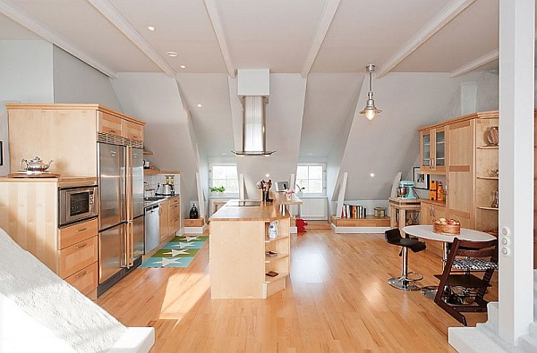 Scandinavian kitchen decor with wooden furnishing