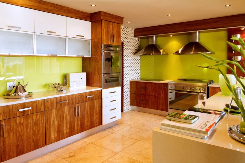 South African House Remodeling – green walls kitchen with wooden furniture