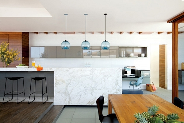 Modern living space in california amalgamates contrasting for California style kitchen