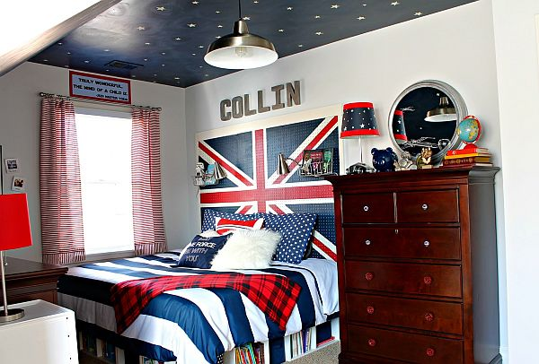 Union Jack teen boy bedroom with sky ceiling