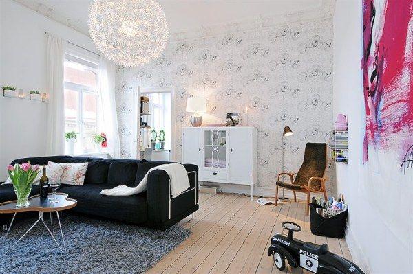 artistic living room with Scandinavian design theme