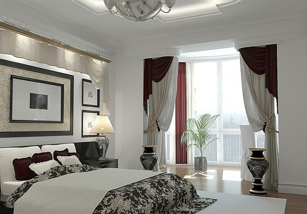Artistic Window Treatments For A Master Bedroom In Black