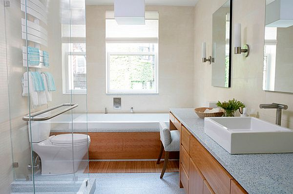 Modern bathroom recycled glass countertop