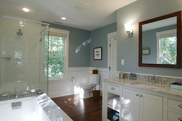 Inexpensive bathroom makeover ideas for Blue white bathroom ideas