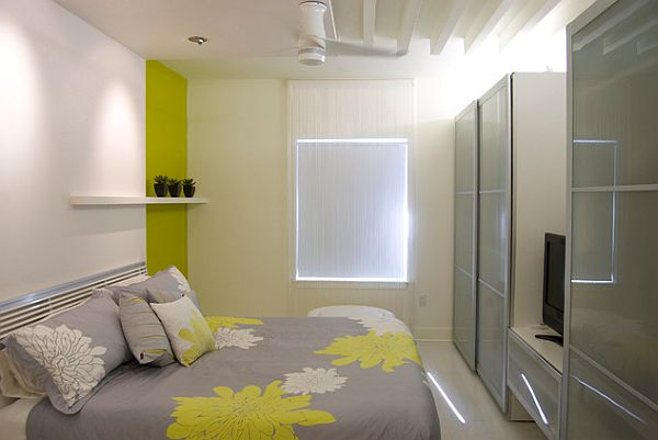 beautiful bedroom with yellow and gray colors