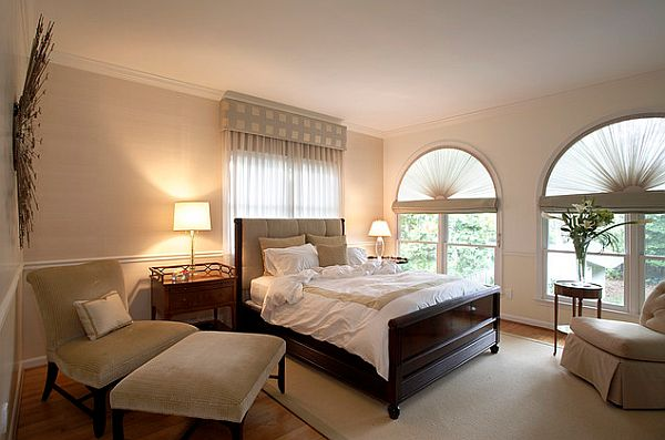White Roman Shades With Drapes