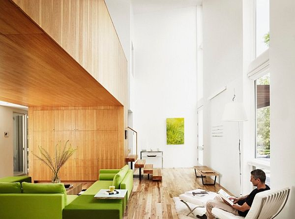 beautiful wood loft with green shades Going Green: The Art of Bringing This Earth Friendly Color in the Home