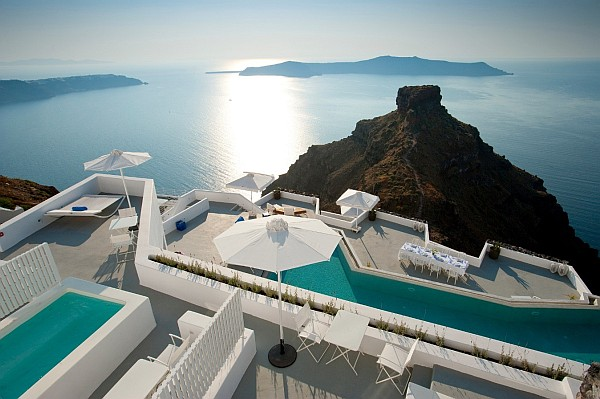 birds eye view santorini - white luxury villa