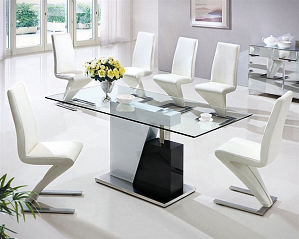 Black and white dining table with glass top decoist - White table with glass top ...