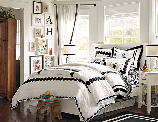 Teenage girls bedrooms bedding ideas for Black and white rooms for teens