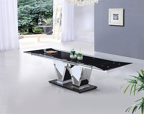 18 sleek glass dining tables. Black Bedroom Furniture Sets. Home Design Ideas