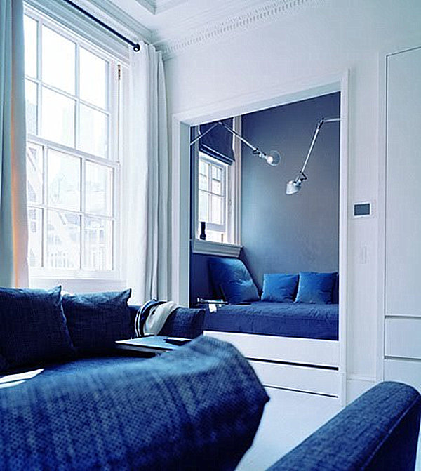 blue alcove bed