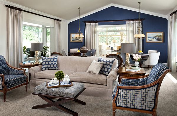 Blue family room decorating ideas for Blue wall living room ideas