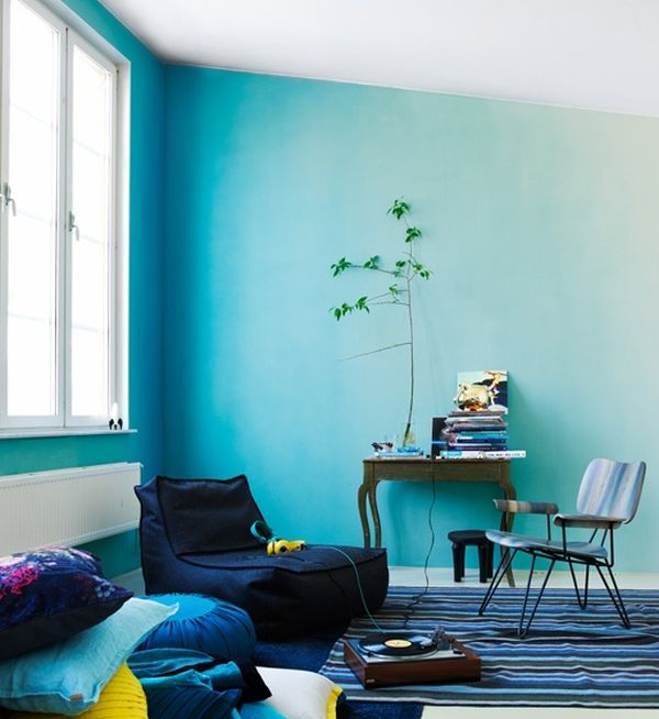 blue ombre wall