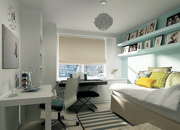 Bright colored teen bedroom