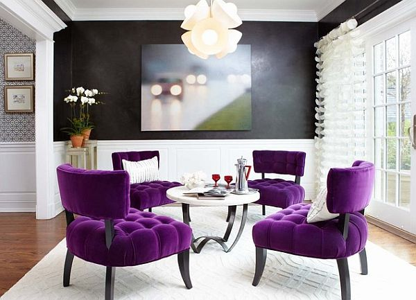 Bright purple chairs for some living room contrast