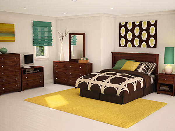 brown and yellow teen girls bedroom