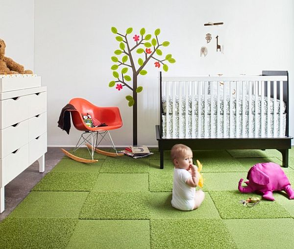 Child room with green carpet tile rug