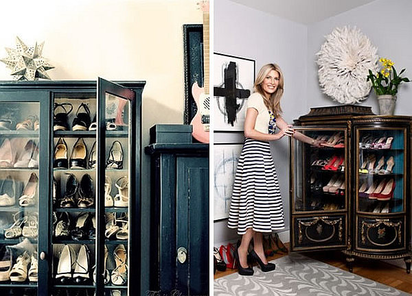 A china cabinet repurposed to store your shoes in style