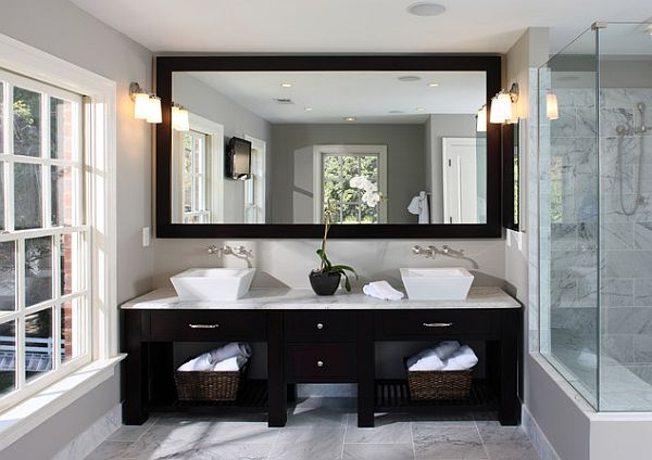 clean and classic master bath suite