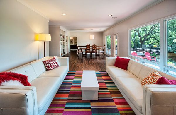 Colorful carpet tile for the living room