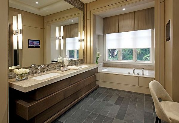 contemporary beige bathroom design Inexpensive Bathroom Makeover Ideas