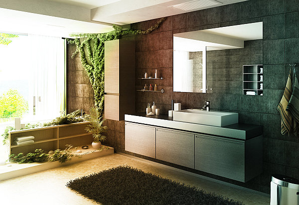 Contemporary forest themed bathroom decoist - Plante verte pour salle de bain ...