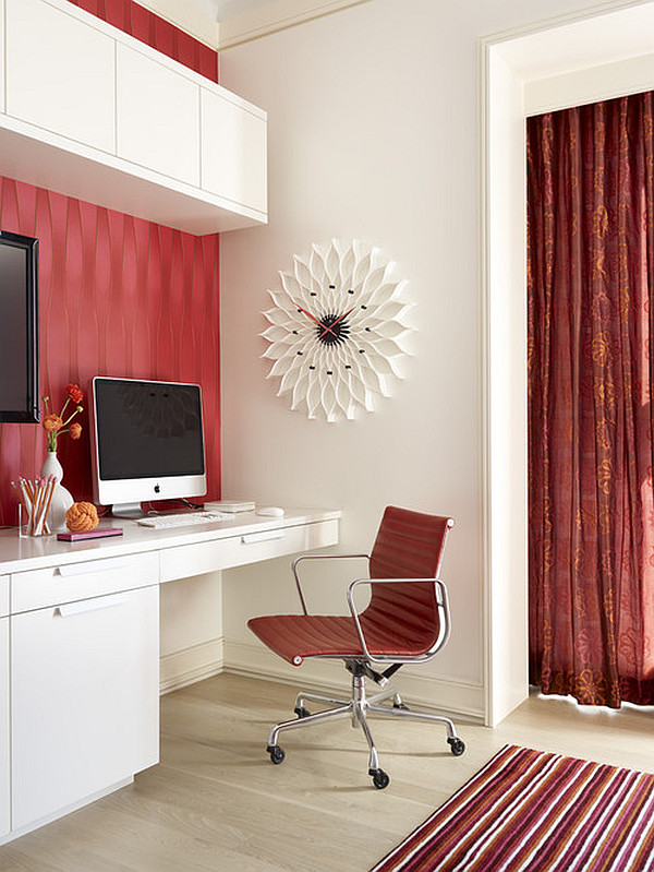 contemporary home office in red and white