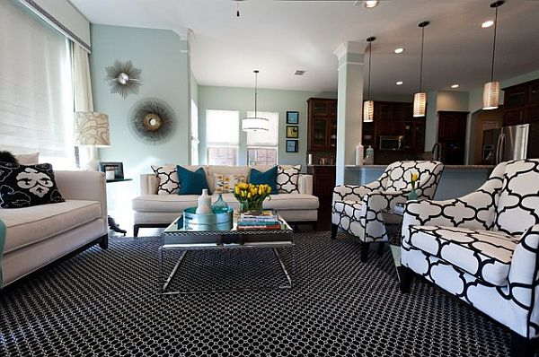 contemporary-living-room-with-patterned-furniture-and-rug