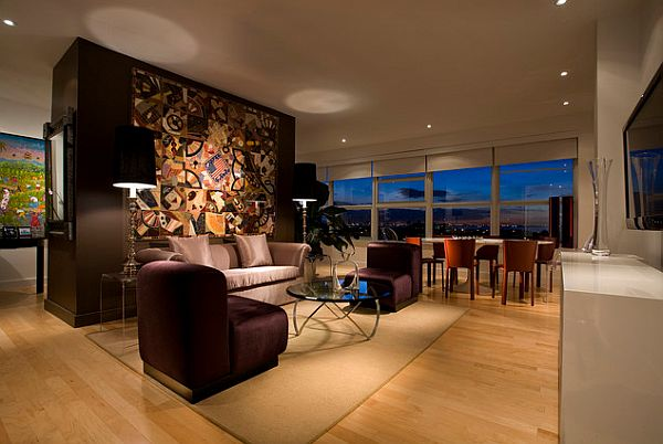 Contemporary living room with purple and orange hues
