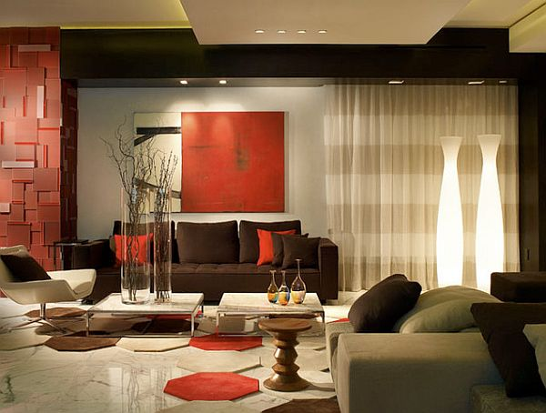 contemporary living room with red and gray decorations