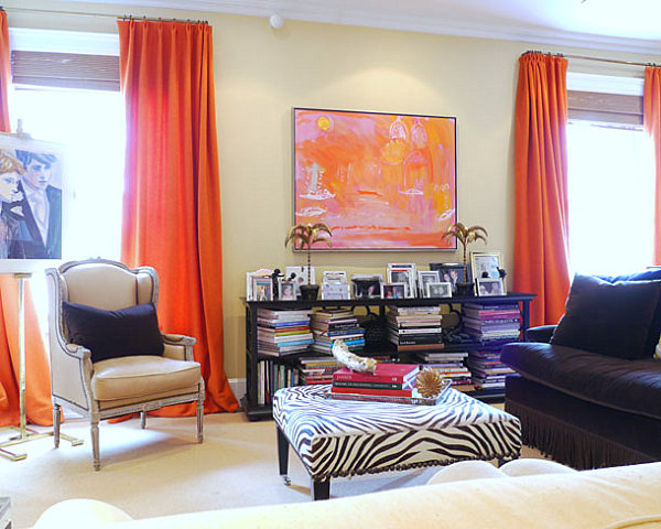 coral and beige living room