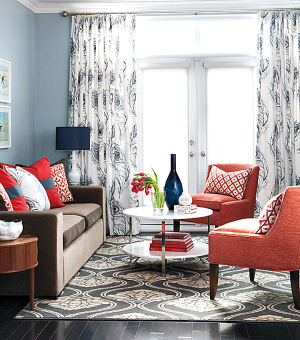 Decorating with Shades of Coral : coral and blue living room from www.decoist.com size 600 x 680 jpeg 147kB