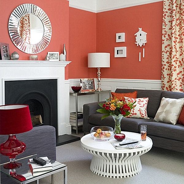coral color living room decorating with shades of coral 12819