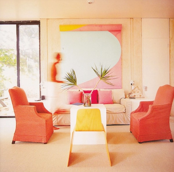 coral-pink-and-yellow-living-room