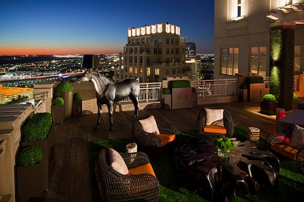 cozy rooftop terrace with fancy furniture