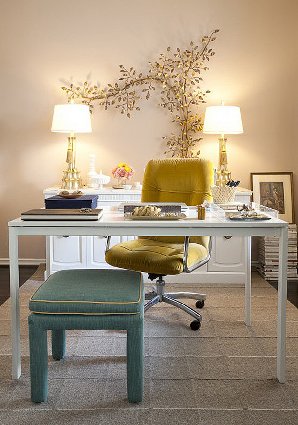 designers home office with a feminine touch