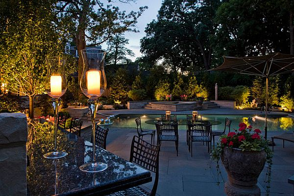 garden lighting by the pool