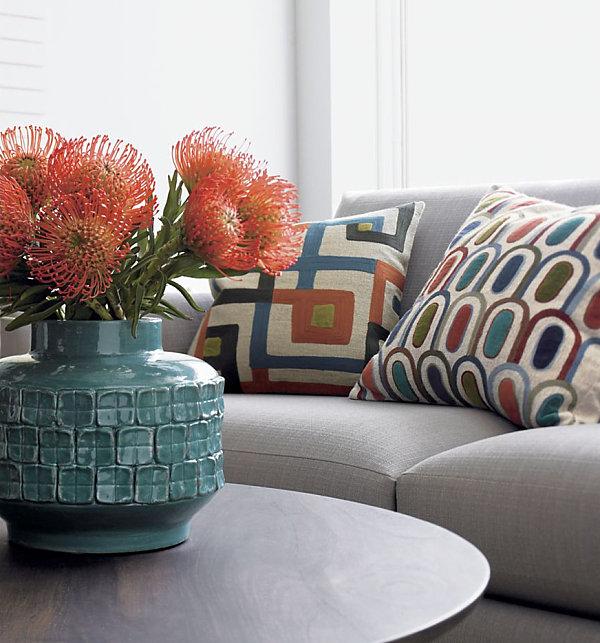 geometric pillow in earth tones