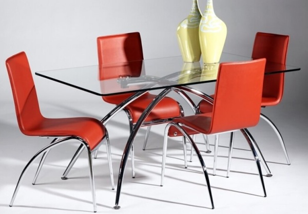 glass dining table with curved legs