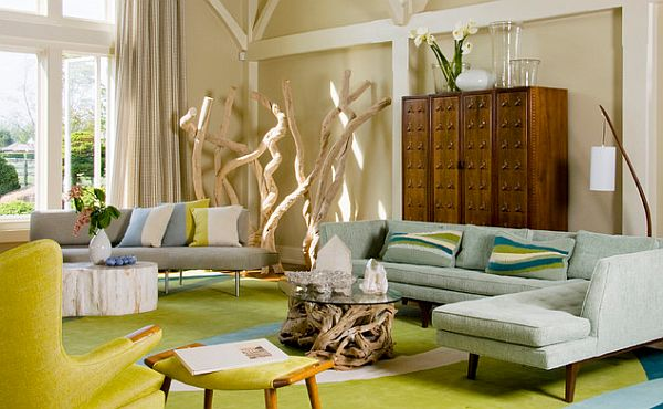 How to decorate your home with color pairs Yellow green living room