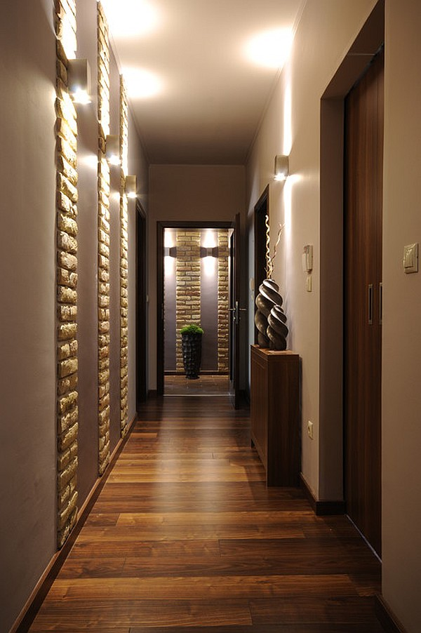 hallway with patterned walls