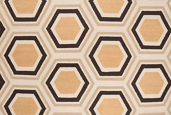 hexagonal geometric rug
