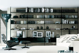 home library with black furniture