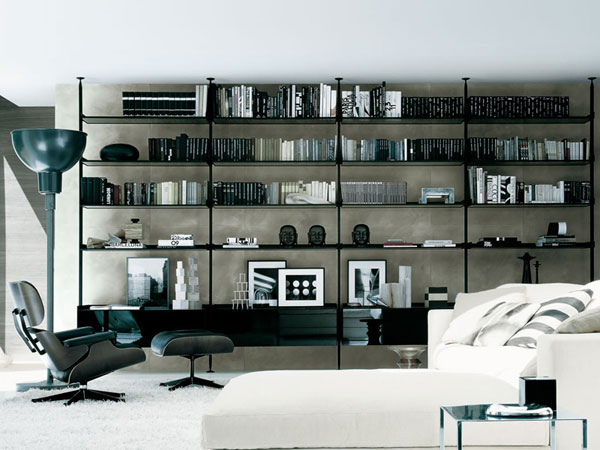 home library with black furniture Creative Home Library Designs For a Unique Atmosphere