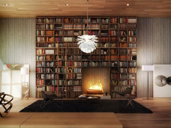 Home Library Shelves Wall Home Library Design With A Cozy Fireplace