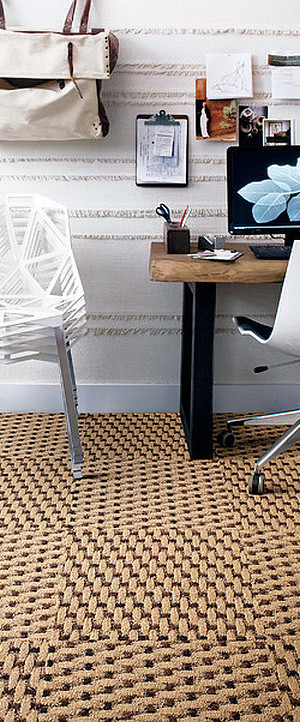 Home office remodeling with tile carpet on the floor