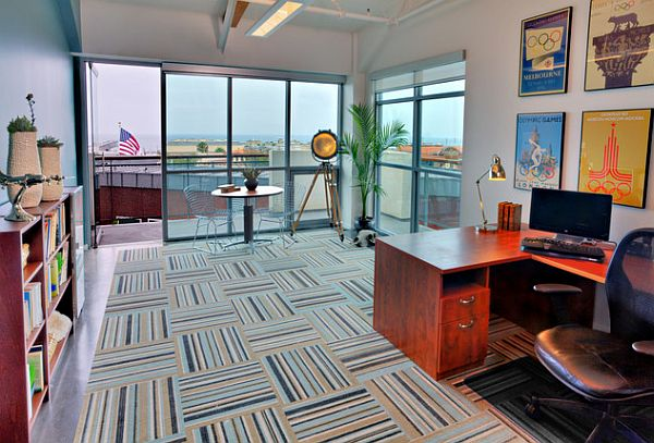 Home office with striped carpet tiles