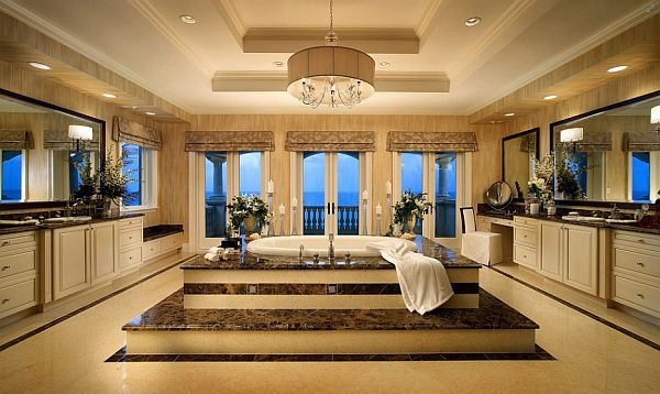 huge bathroom design with mediterranean influences